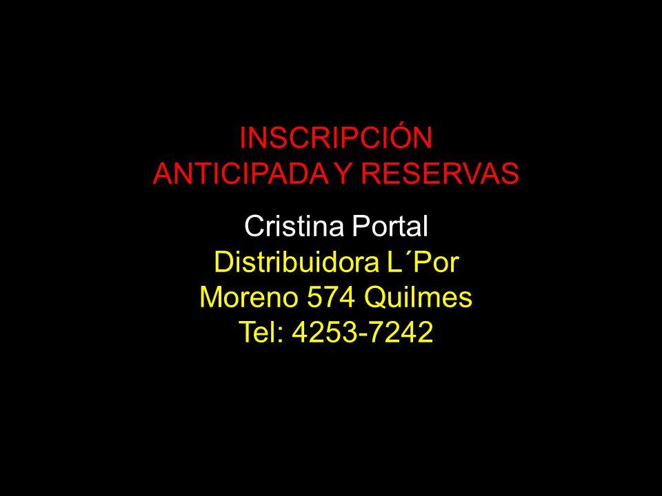 INSCRIPCIÓN ANTICIPADA Y RESERVAS. Cristina Portal.
