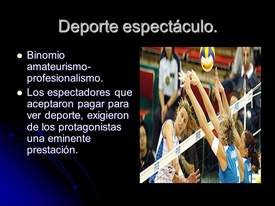 Deporte espectáculo. Binomio amateurismo-profesionalismo.