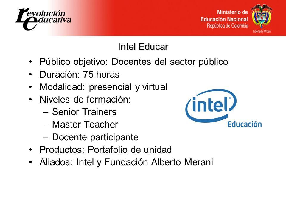Intel Educar Público objetivo: Docentes del sector público. Duración: 75 horas. Modalidad: presencial y virtual.