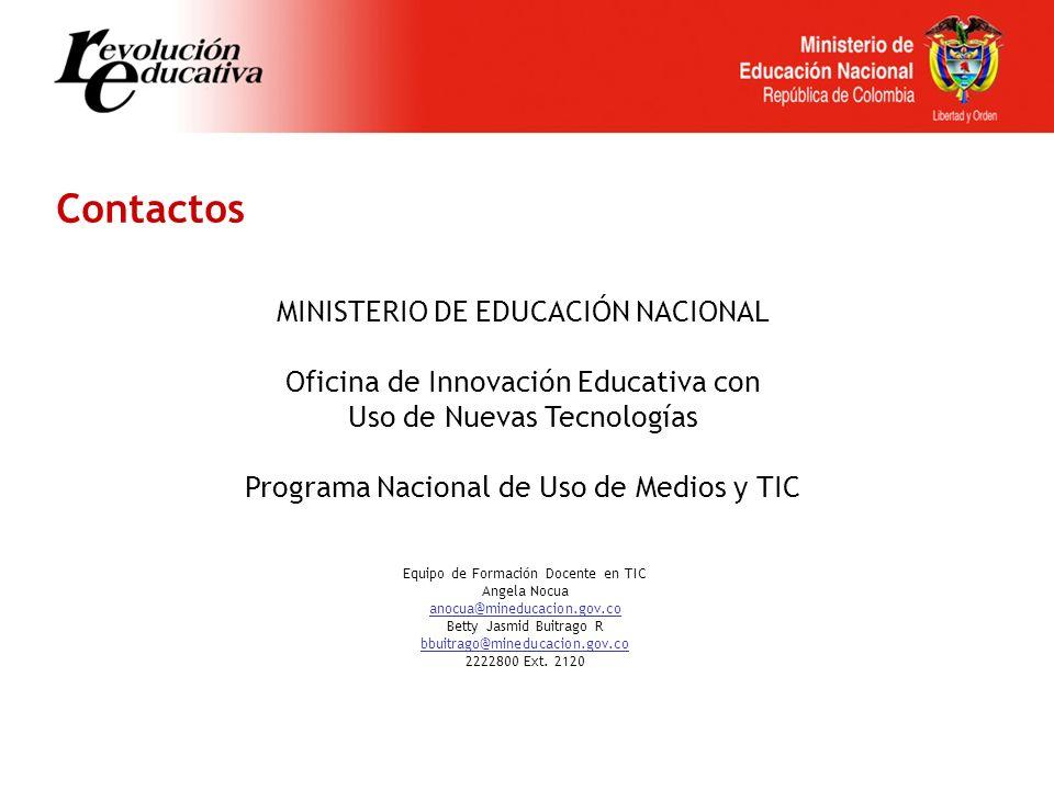 Contactos MINISTERIO DE EDUCACIÓN NACIONAL