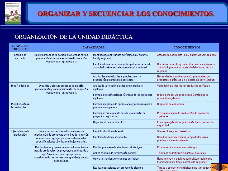 ORGANIZAR Y SECUENCIAR LOS CONOCIMIENTOS. Ejecución de la producción