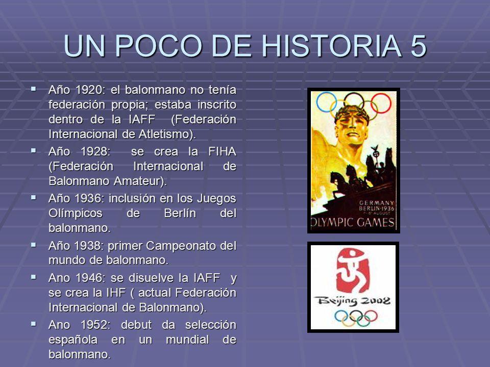 UN POCO DE HISTORIA 5 Año 1920: el balonmano no tenía federación propia; estaba inscrito dentro de la IAFF (Federación Internacional de Atletismo).