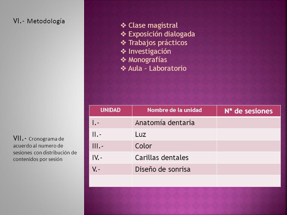 VI.- Metodología Clase magistral Exposición dialogada