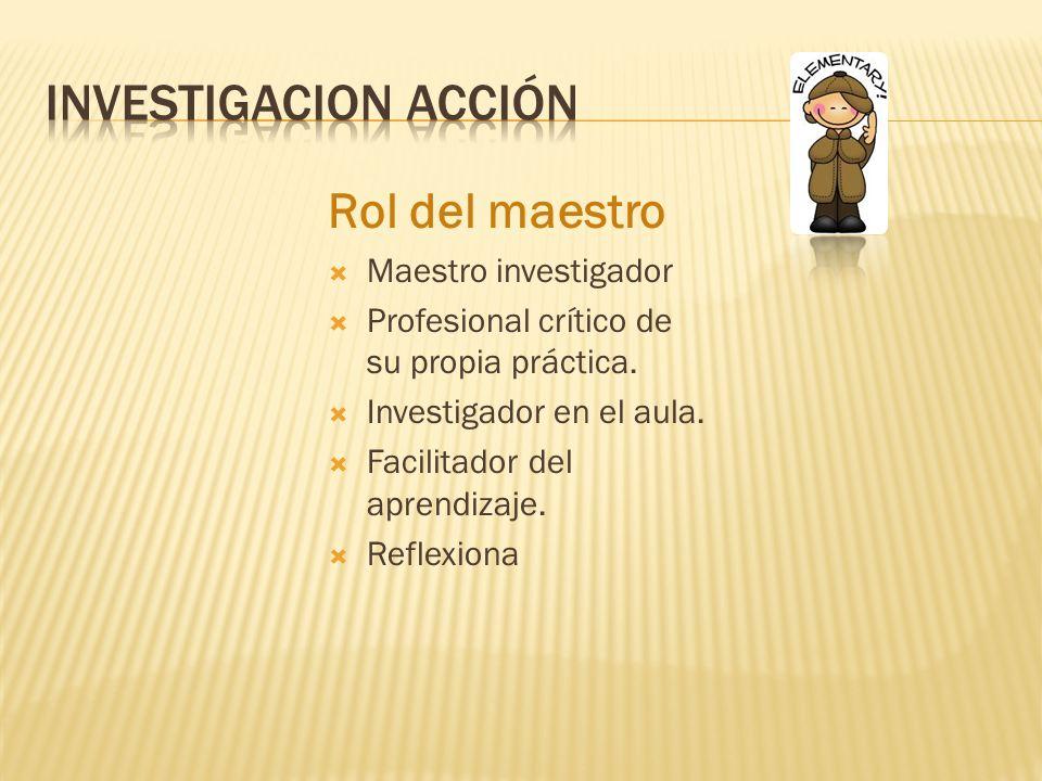 Investigacion acción Rol del maestro Maestro investigador
