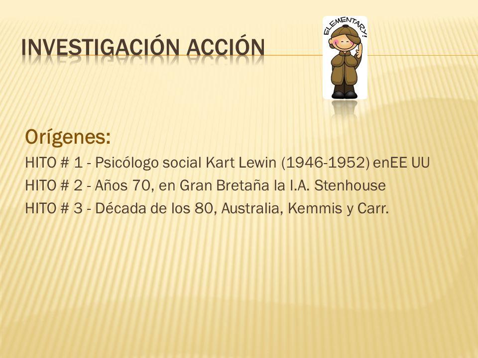 Investigación acción Orígenes: