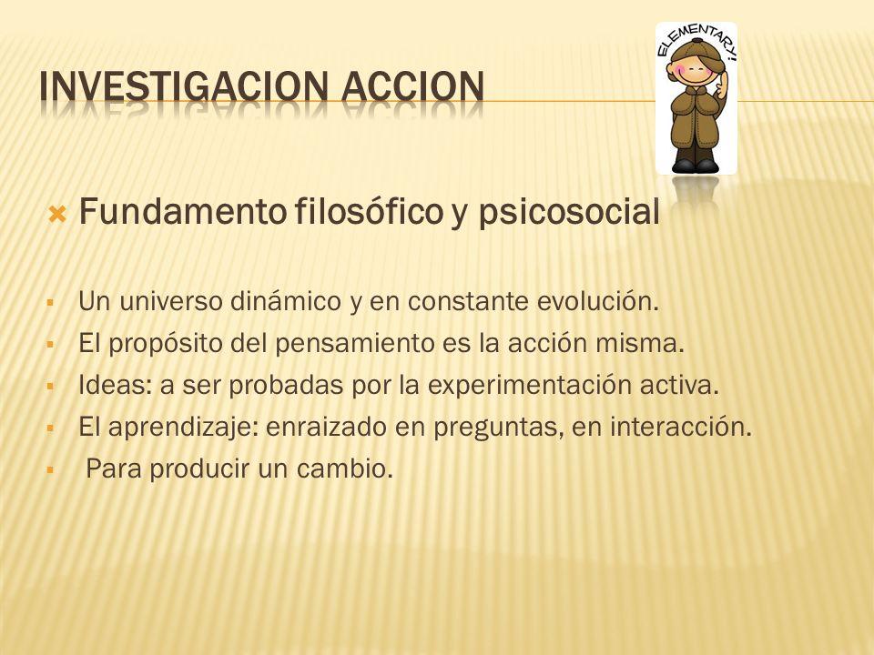 Investigacion accion Fundamento filosófico y psicosocial