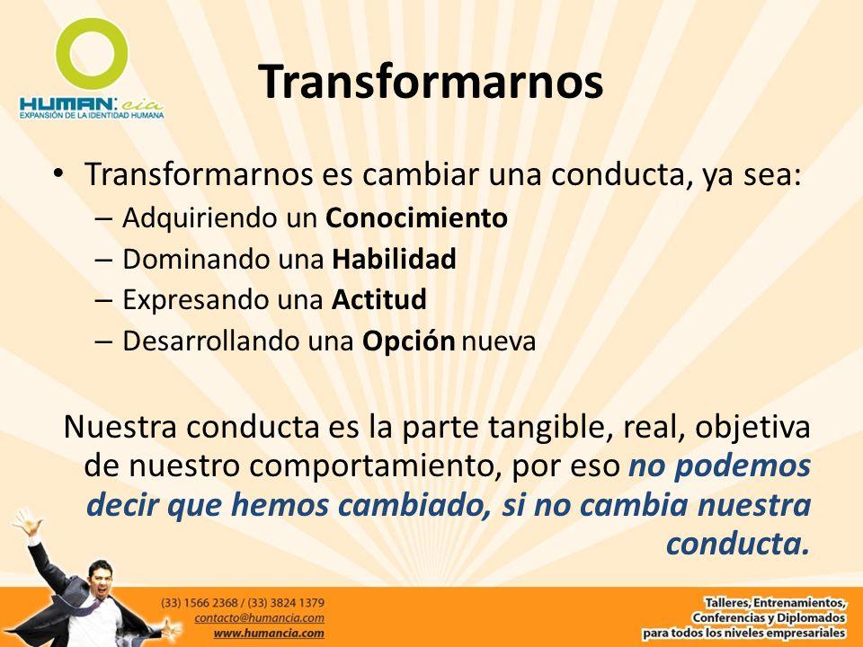 Transformarnos Transformarnos es cambiar una conducta, ya sea: