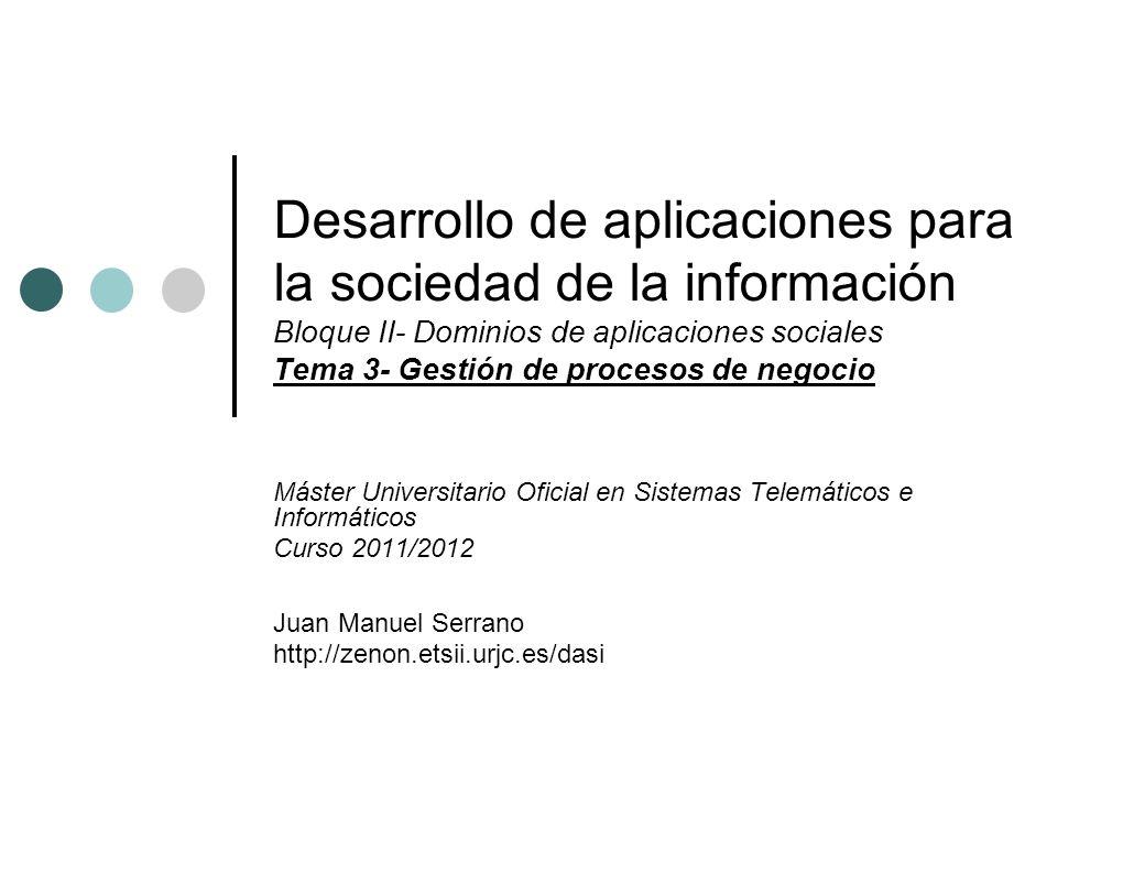 Desarrollo de aplicaciones para la sociedad de la información Bloque II- Dominios de aplicaciones sociales Tema 3- Gestión de procesos de negocio