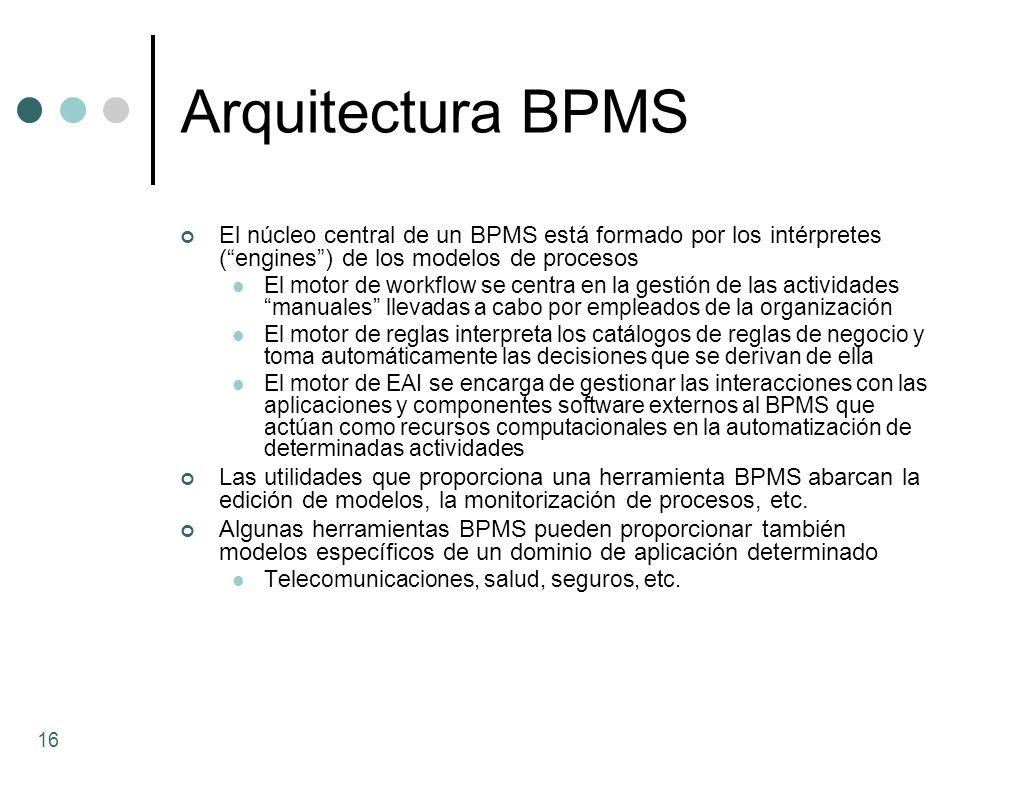 Arquitectura BPMS El núcleo central de un BPMS está formado por los intérpretes ( engines ) de los modelos de procesos.