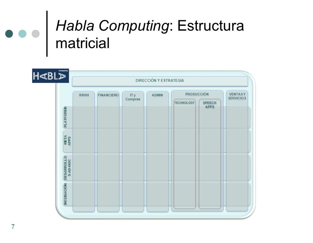 Habla Computing: Estructura matricial