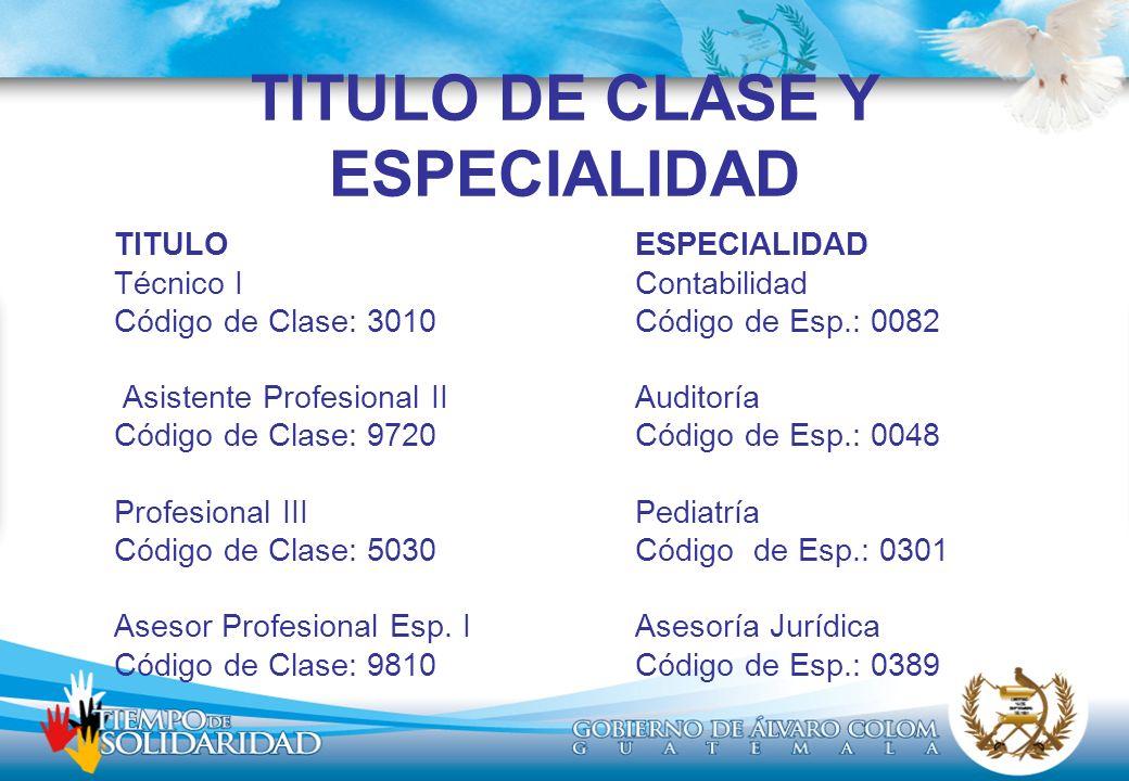 TITULO DE CLASE Y ESPECIALIDAD