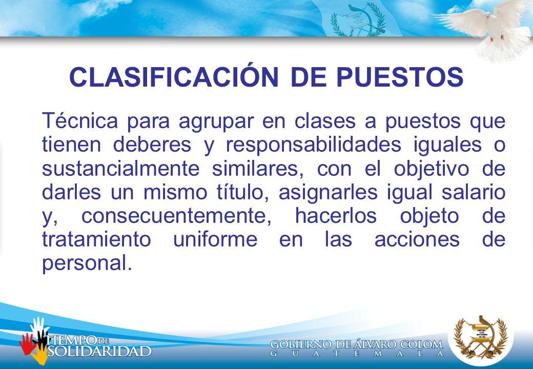 CLASIFICACIÓN DE PUESTOS