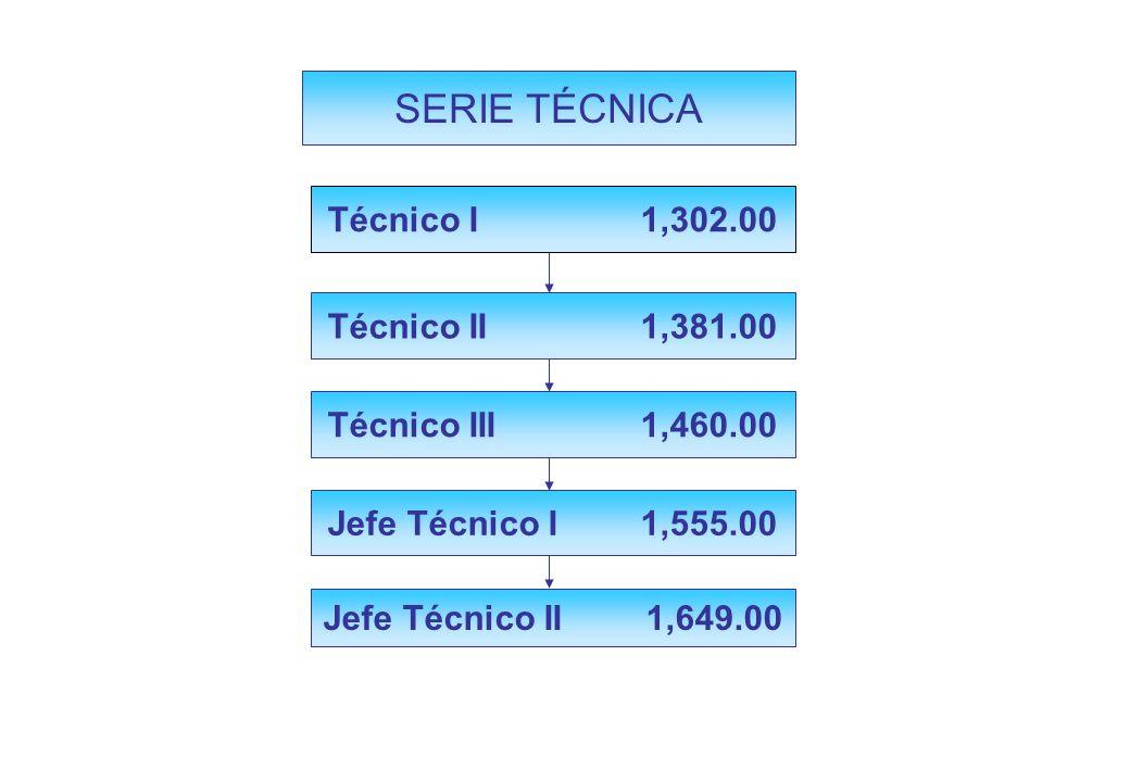 SERIE TÉCNICA Técnico I 1,302.00 Técnico II 1,381.00