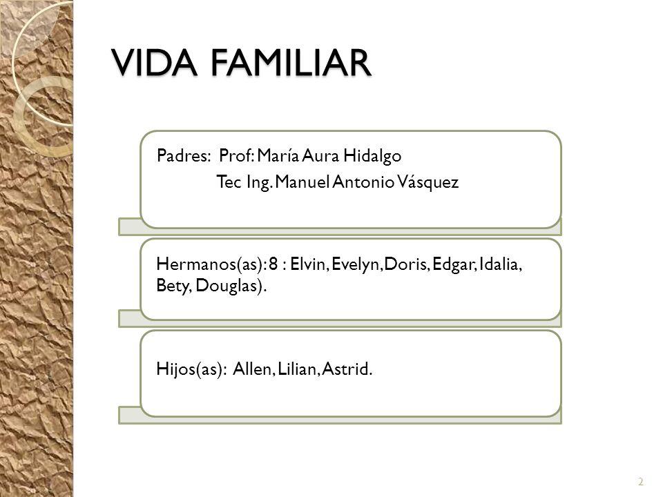 VIDA FAMILIAR Padres: Prof: María Aura Hidalgo