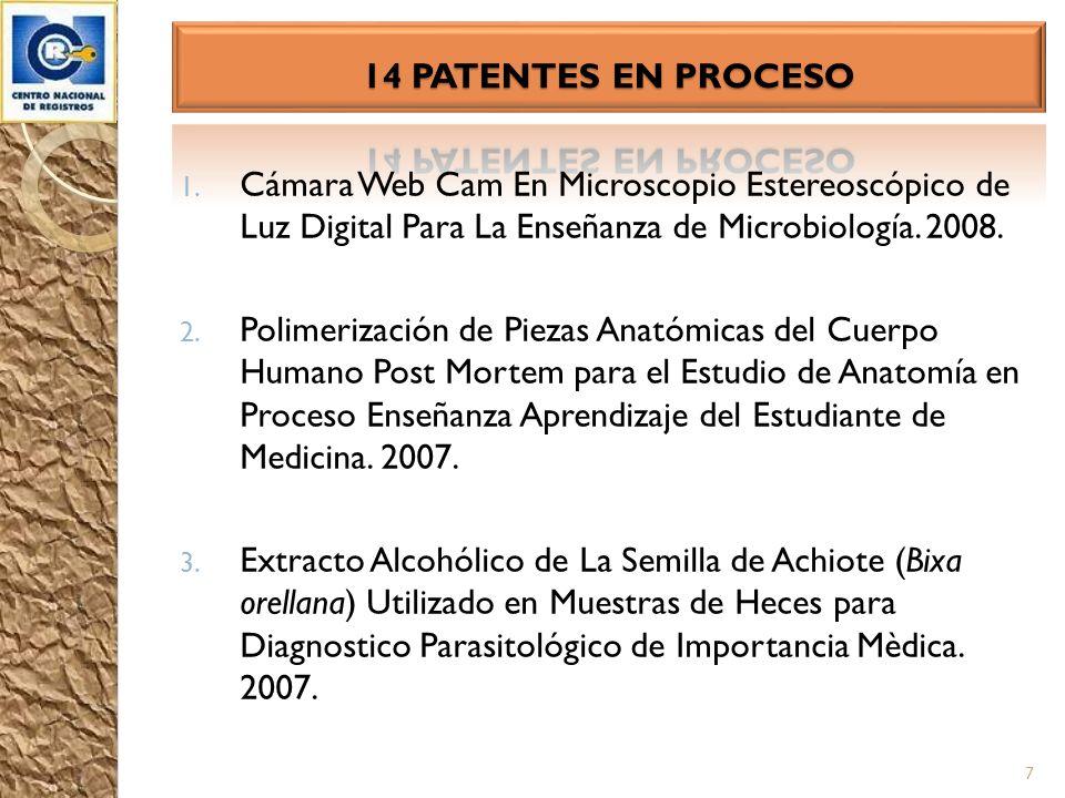 14 PATENTES EN PROCESO Cámara Web Cam En Microscopio Estereoscópico de Luz Digital Para La Enseñanza de Microbiología. 2008.