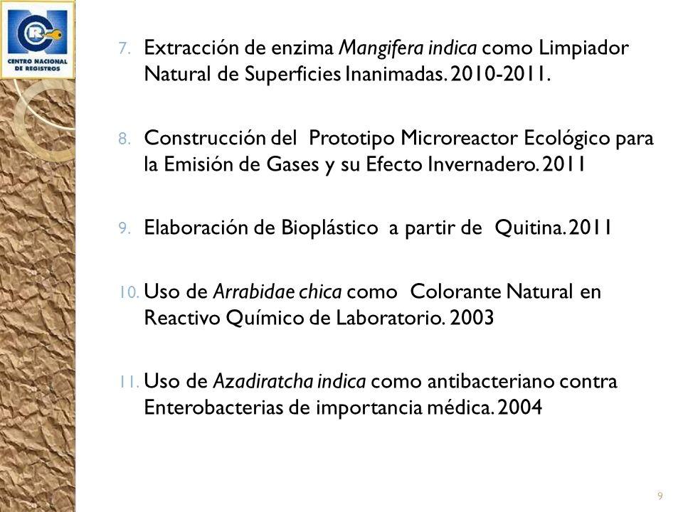 Extracción de enzima Mangifera indica como Limpiador Natural de Superficies Inanimadas. 2010-2011.