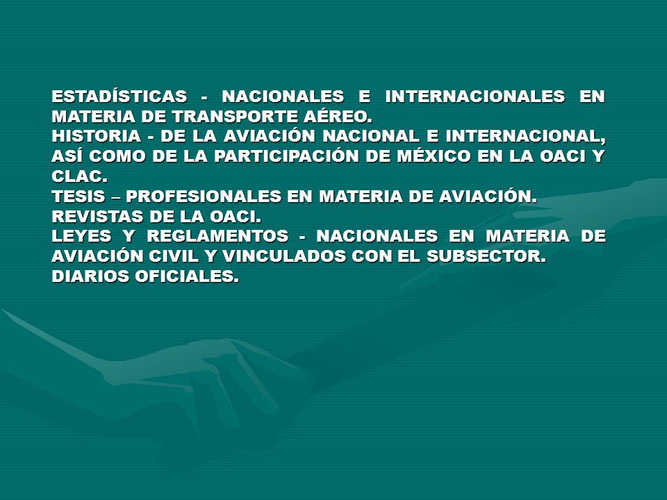 ESTADÍSTICAS - NACIONALES E INTERNACIONALES EN MATERIA DE TRANSPORTE AÉREO.