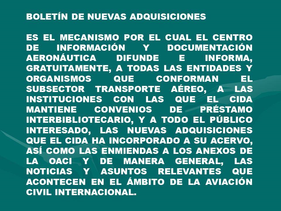 BOLETÍN DE NUEVAS ADQUISICIONES