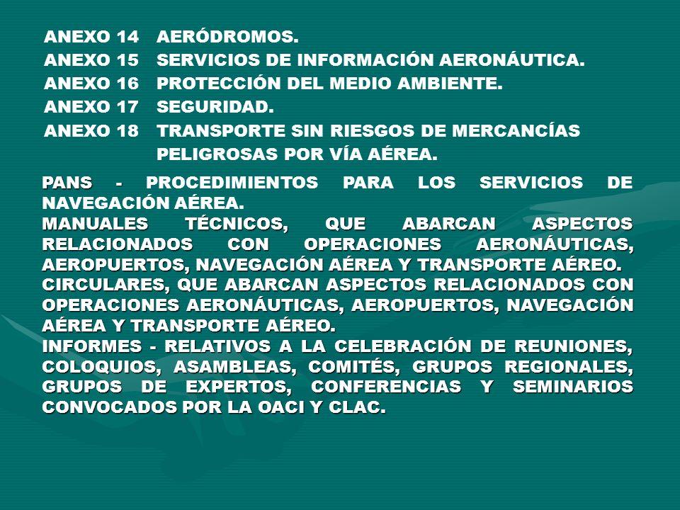 ANEXO 14 AERÓDROMOS. ANEXO 15. SERVICIOS DE INFORMACIÓN AERONÁUTICA. ANEXO 16. PROTECCIÓN DEL MEDIO AMBIENTE.
