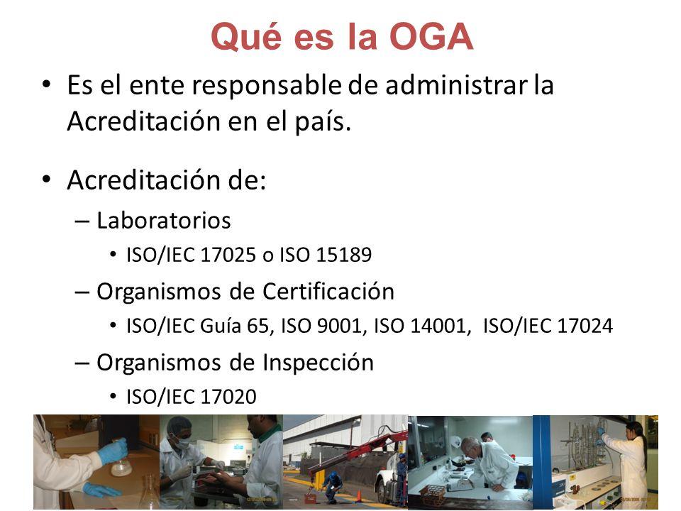Qué es la OGA Es el ente responsable de administrar la Acreditación en el país. Acreditación de: Laboratorios.