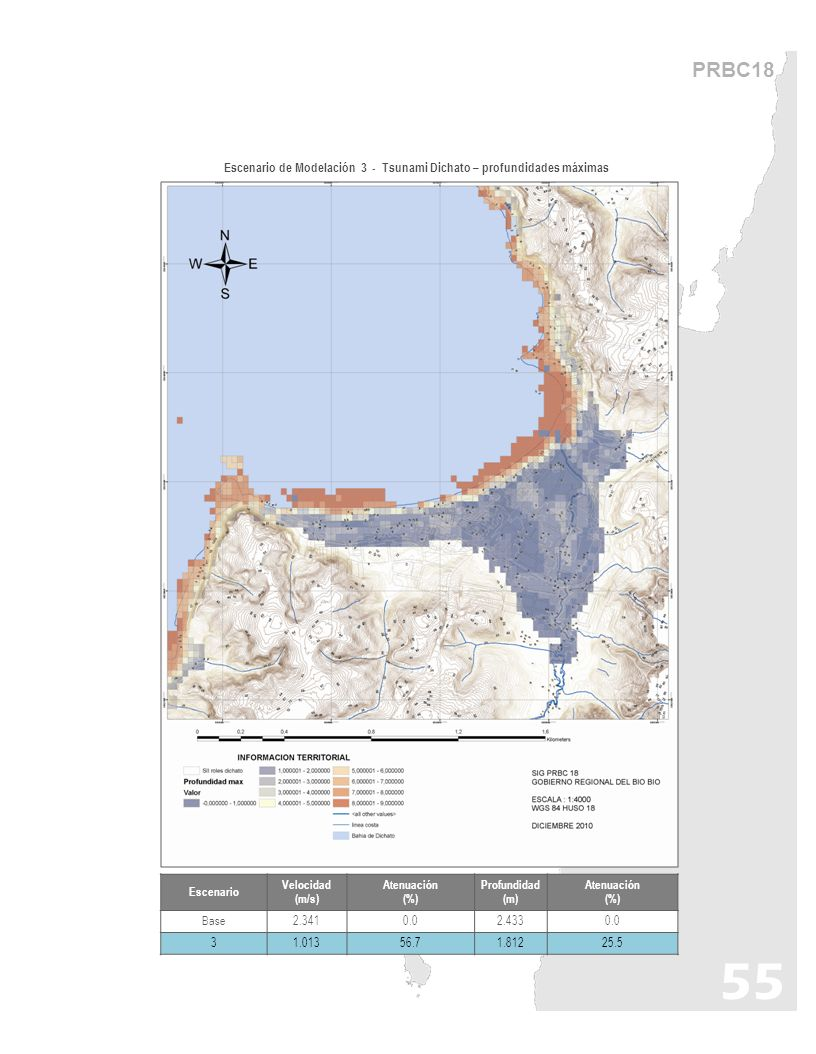 PRBC18 Escenario de Modelación 3 - Tsunami Dichato – profundidades máximas. Escenario. Velocidad (m/s)