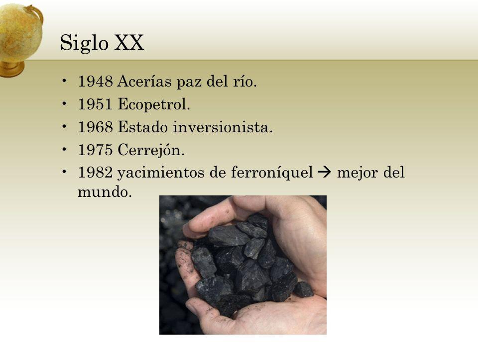 Siglo XX 1948 Acerías paz del río. 1951 Ecopetrol.