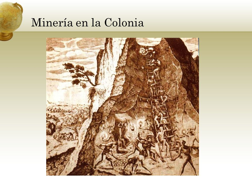 Minería en la Colonia Add key points in the history of your country to the timeline.