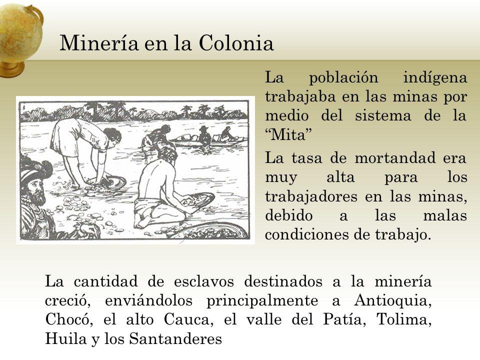 Minería en la Colonia La población indígena trabajaba en las minas por medio del sistema de la Mita