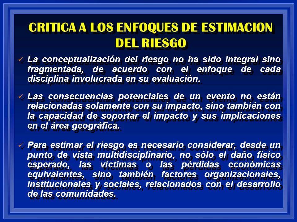 CRITICA A LOS ENFOQUES DE ESTIMACION DEL RIESGO