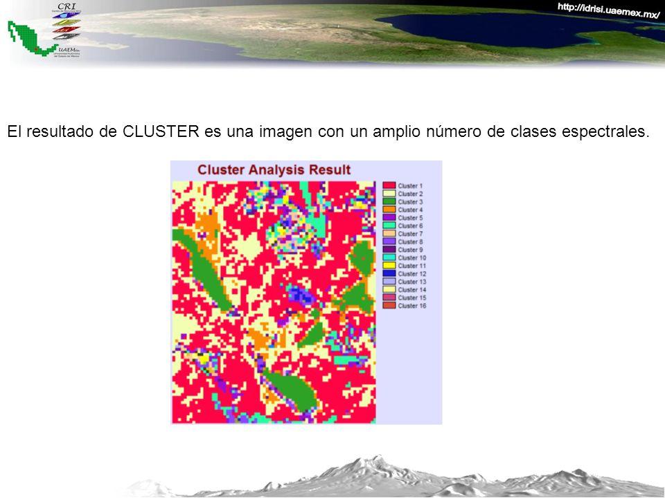 El resultado de CLUSTER es una imagen con un amplio número de clases espectrales.