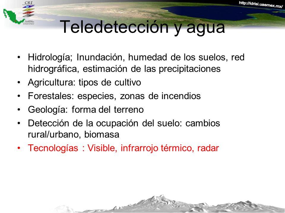 Teledetección y agua Hidrología; Inundación, humedad de los suelos, red hidrográfica, estimación de las precipitaciones.