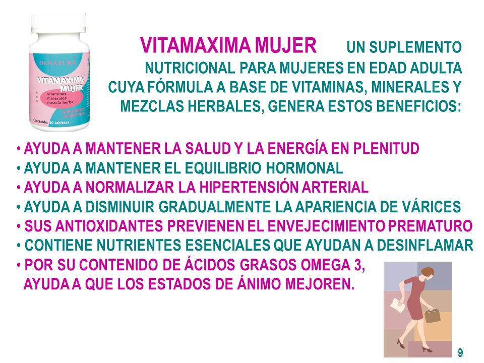 VITAMAXIMA MUJER UN SUPLEMENTO NUTRICIONAL PARA MUJERES EN EDAD ADULTA CUYA FÓRMULA A BASE DE VITAMINAS, MINERALES Y MEZCLAS HERBALES, GENERA ESTOS BENEFICIOS: