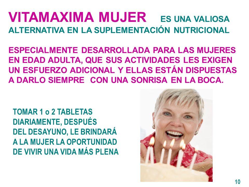 VITAMAXIMA MUJER ES UNA VALIOSA ALTERNATIVA EN LA SUPLEMENTACIÓN NUTRICIONAL