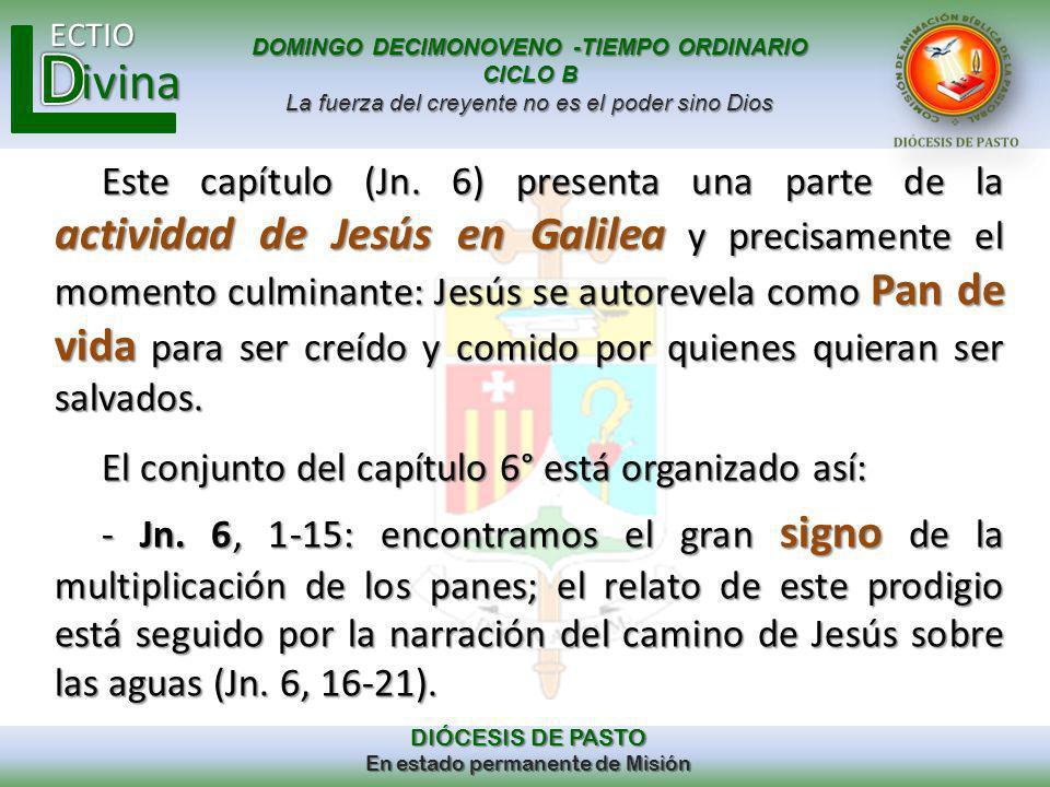 Este capítulo (Jn. 6) presenta una parte de la actividad de Jesús en Galilea y precisamente el momento culminante: Jesús se autorevela como Pan de vida para ser creído y comido por quienes quieran ser salvados.