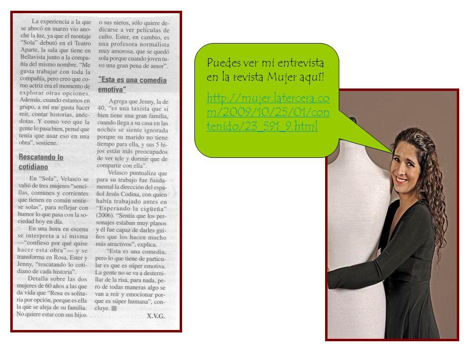 Puedes ver mi entrevista en la revista Mujer aquí!
