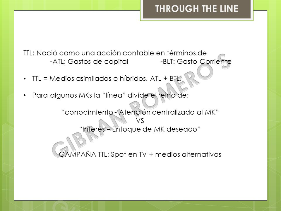 GIBRAN ROMERO S THROUGH THE LINE