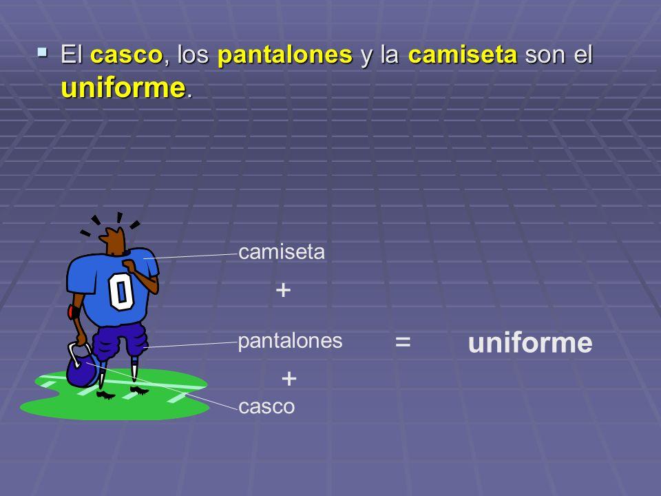+ = uniforme + El casco, los pantalones y la camiseta son el uniforme.