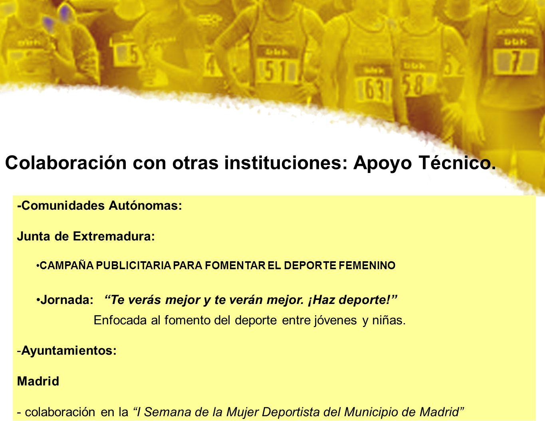 Colaboración con otras instituciones: Apoyo Técnico.