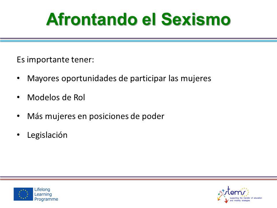 Afrontando el Sexismo Es importante tener: