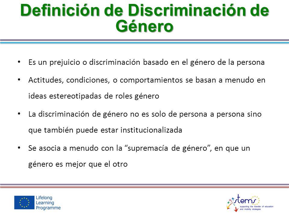 Definición de Discriminación de Género