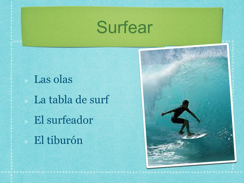 Surfear Las olas La tabla de surf El surfeador El tiburón