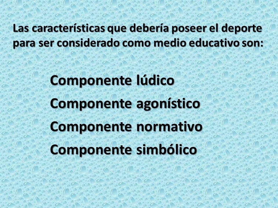 Componente agonístico Componente normativo Componente simbólico