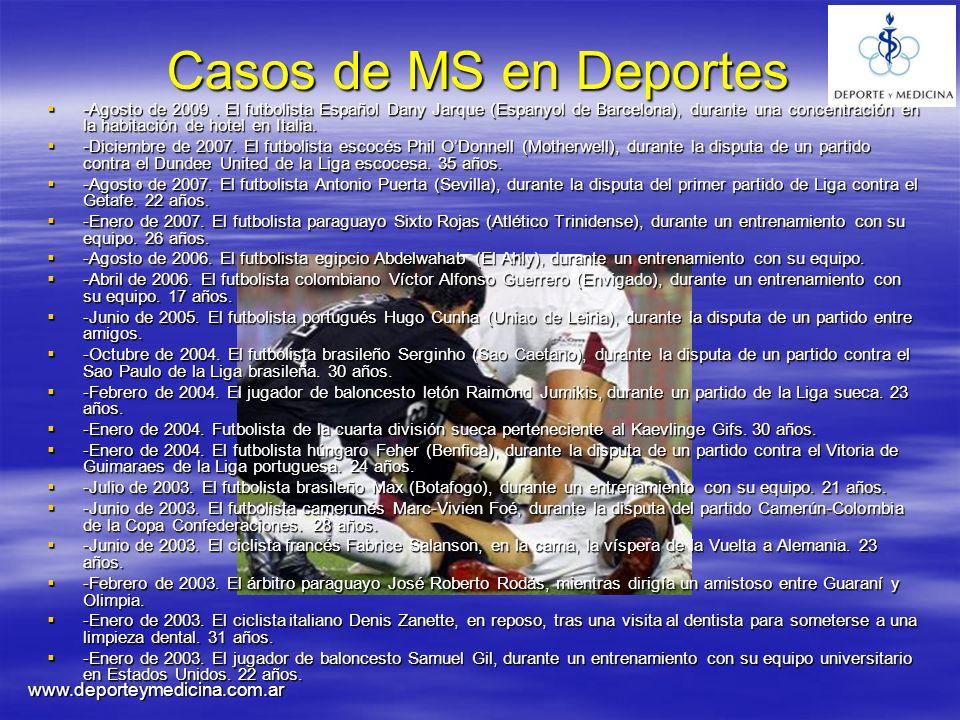 Casos de MS en Deportes www.deporteymedicina.com.ar
