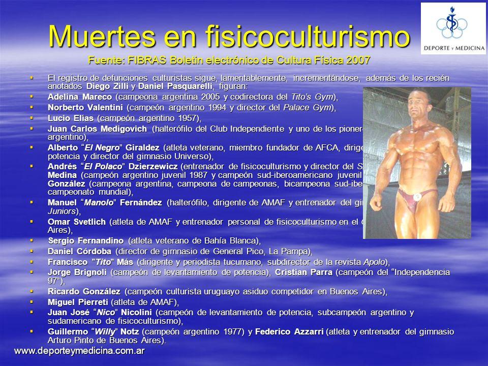Muertes en fisicoculturismo Fuente: FIBRAS Boletin electrónico de Cultura Física 2007