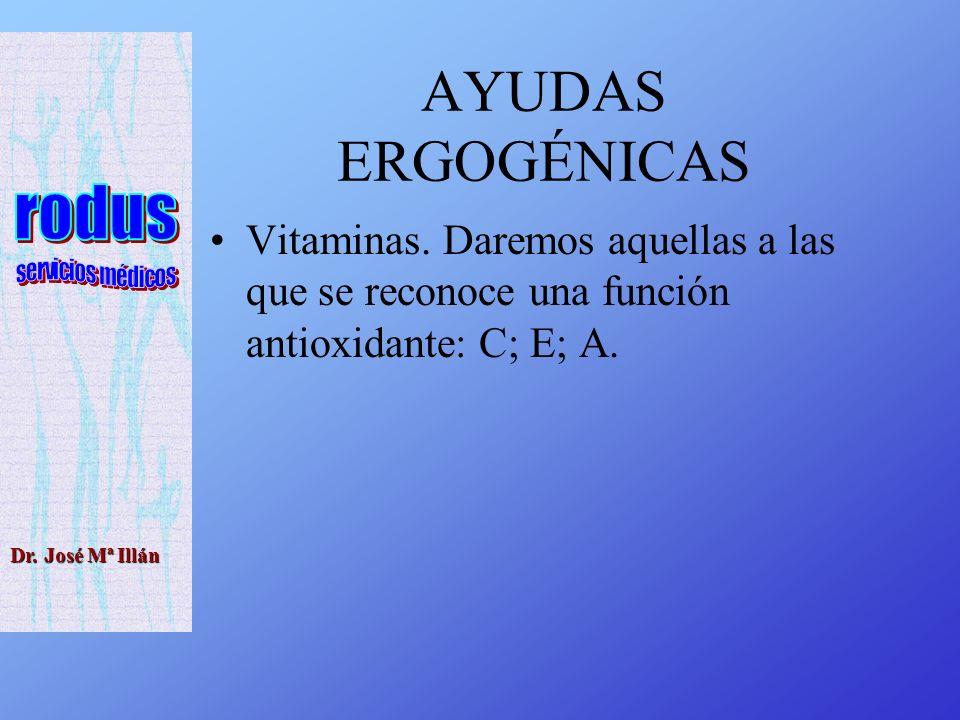 AYUDAS ERGOGÉNICAS Vitaminas.