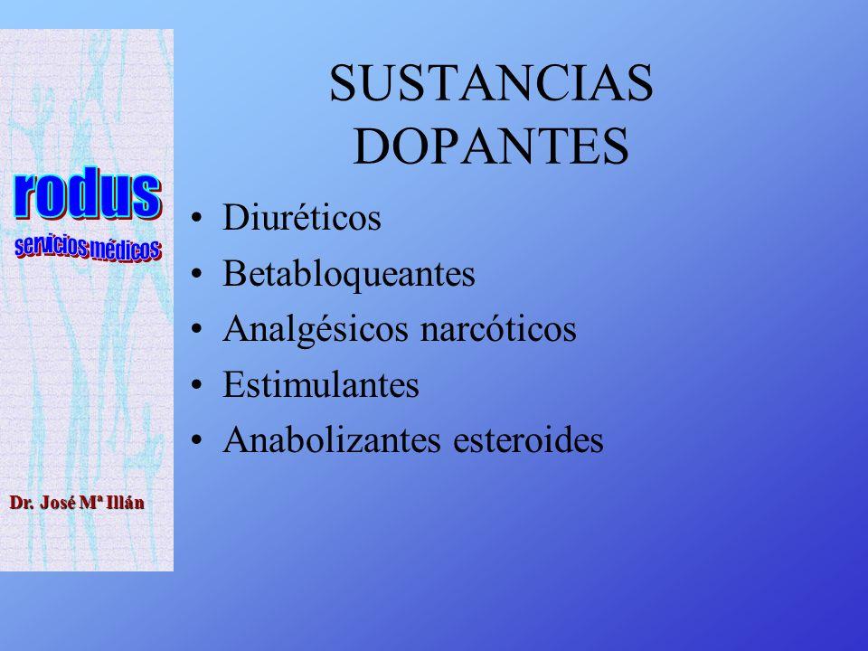SUSTANCIAS DOPANTES Diuréticos Betabloqueantes Analgésicos narcóticos