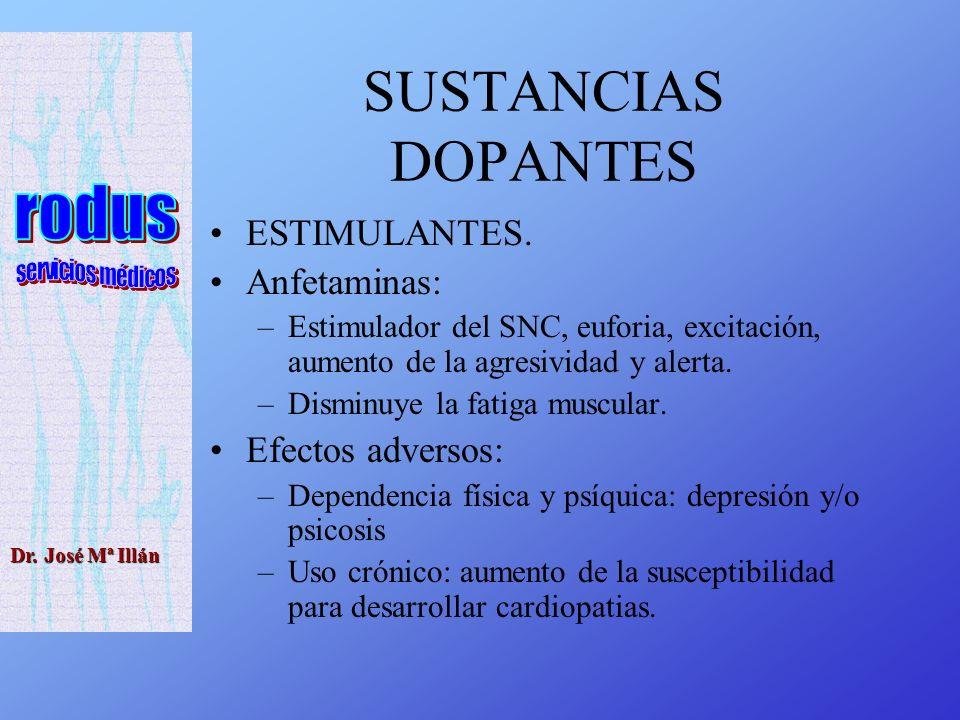SUSTANCIAS DOPANTES ESTIMULANTES. Anfetaminas: Efectos adversos: