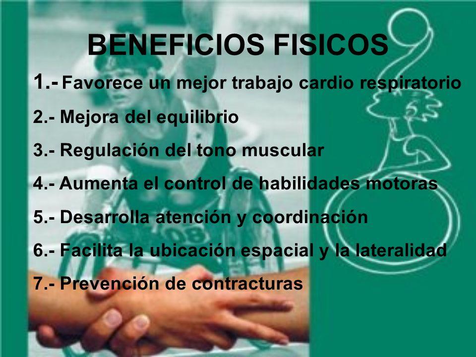 BENEFICIOS FISICOS 1.- Favorece un mejor trabajo cardio respiratorio