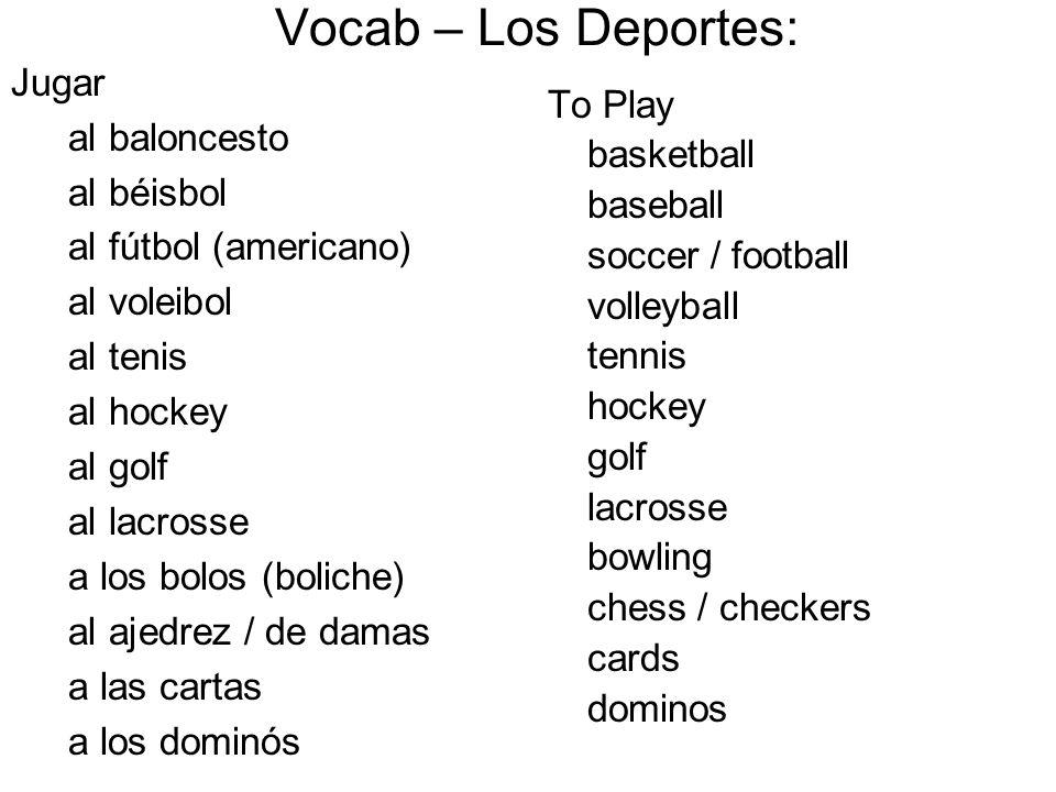Vocab – Los Deportes: Jugar al baloncesto To Play al béisbol