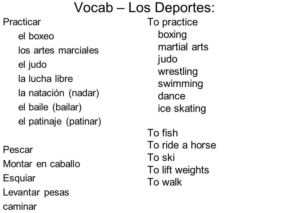Vocab – Los Deportes: To practice boxing martial arts judo wrestling
